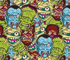 Classic Movie Monsters fabric by piratesbootyk on Spoonflower - custom fabric
