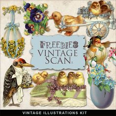 Freebies Vintage Easter Vignettes