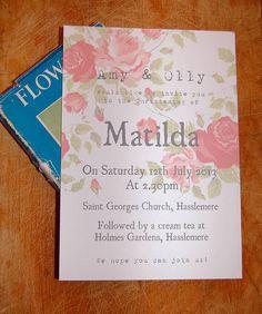petal christening invitation by a bird & a bee | notonthehighstreet.com