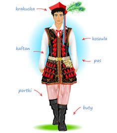 Strój krakowski męski - opis Folk Costume, Costume Dress, Poland Costume, Polish Folk Art, Folk Clothing, Tribal Dress, Ethnic Outfits, Festival Wear, Dance Costumes