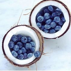"thelordismylightandmysalvation: "" Blueberries in Coconut Shells """