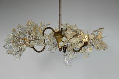 Lighting hanging chandeliers,  Transparent leaves and flowers 3 arms by yehudalight on Etsy https://www.etsy.com/listing/201693552/lighting-hanging-chandeliers-transparent