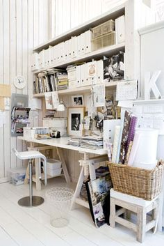 studio, office spaces, white spaces, work space, shelv