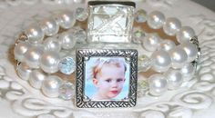 Bridal Pearl Picture bracelet / Anniversary Memory by ShoreCrafty, $45.00