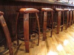 Bar stools made from old barrels