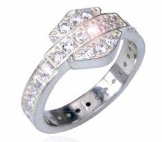 Harley-Davidson® MOD® Womens Sterling Silver Cubic Zirconia Bling Bar & Shield Ring. HDR0159