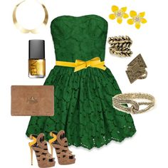 St.Patricks day outfit. Green & Yellow ♥