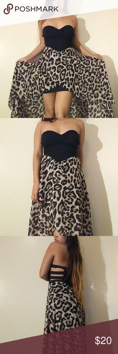 Windsor Dress Beautiful flowy high low dress from Windsor. It has cut out sides and a padded bust. Super cute animal print and a black slip underneath. Size: M. Feel free to ask any questions!(: Windsor Dresses High Low