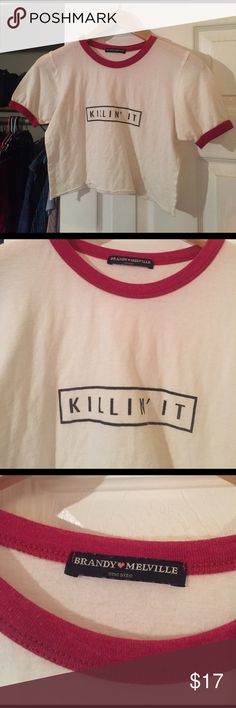BRANDY💕MELVILLE💦KILLIN' IT CROP TOP🔥🔥🔥 Worn once //  perfect with basically anything Brandy Melville Tops Crop Tops