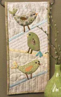 Sweet bird appliqué wall hanging