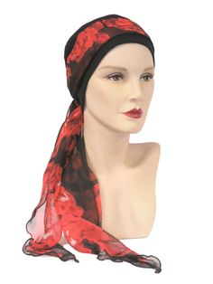 Hat with Red Flower on Black Maxi Scarf