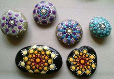 Painted Stone Rock Art~ Hand Painted by Miranda Pitrone ~ Dot Art~ Yellow Ombre Mandala Flower ~Painted Rocks~Coastal Home Decor by P4MirandaPitrone on Etsy