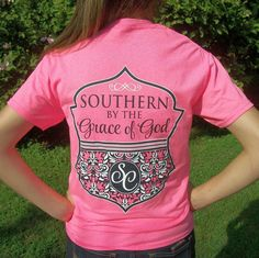 """Southern By The Grace of God"" Hot Pink T-Shirt - Preppy Girlie Style-SC Couture #CoutureTeeCompany #GraphicTee"