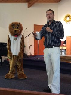 We introduced Christian the Lion to the church this past Sunday morning! Perfect because Pastor Rick was talking on Daniel and the Lion's Den (day 4). We also shared his bio: first & last name, height, weight, favorite food (pizza), worst fear - Packer fans (they mistake him for the Detroit Lions mascot), and if he could talk he would tell you he loves Jesus!