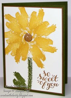 Stampin' Up! .... handmade card fromCreate With Christy: Work of Art Flower Card ... yellow daisy fills the card front ... delightful ...