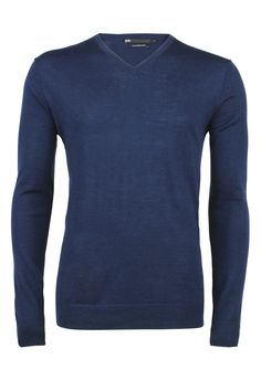 Fine-knit sweater with V-neck in navy