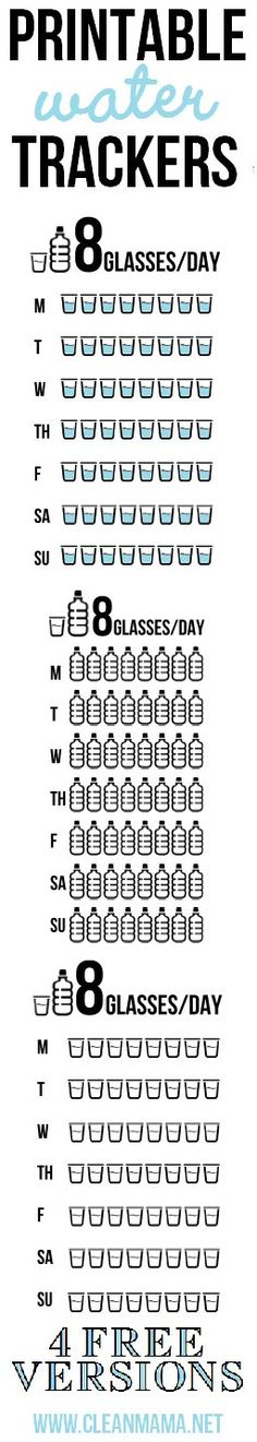 Trying to remember to drink those 8 glasses of water? Printable Water Trackers - 4 free versions via Clean Mama