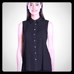 Pinque black sleeveless tank Cute summer tank that buttons up, and has a partial inserted accordion ruffle back. 95% rayon 5% spandex VERY comfy with 100% polyester accordion ruffle back contrast. Cute with summer pants! Pinque Tops Tank Tops