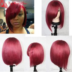 Glueless Short Red Hair Wig Natural Straight Layered Bob Wigs With Side Bangs Virgin Malaysian Hair Red Lace Front Wig For Women Red Hair Wig Layered Bob Wigs Red Lace front Wig Online with 338.55/Piece on Topprettyhair's Store | DHgate.com