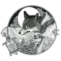 MSGDSSNY (Mariano Sánchez García), based in Barcelona. [Kitsune (2014), Ink on paper. T-Shirt design for Honeyspiders.]
