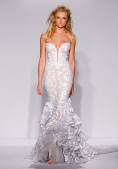 140c608b7 Ivory tulle mermaid with sequined lace appliques