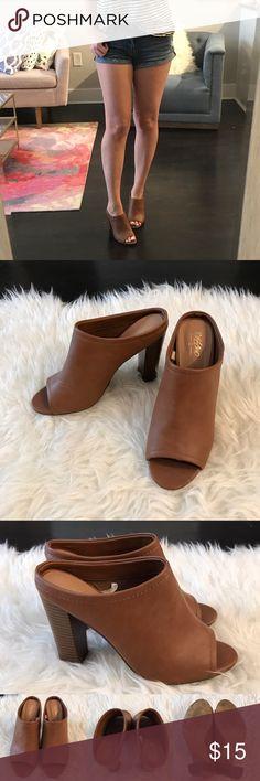 Mules Brown mules with block heel. Worn once, near perfect condition!                       •n o  t r a d e s• •s m o k e  f r e e / p e t  f r e e  h o m e•   •s a m e / n e x t  d a y  s h i p p i n g• Mossimo Supply Co. Shoes Mules & Clogs