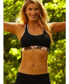 5527bb6868 Wilderness Dreams Black with Mossy Oak Pink Break-Up Camo Trim Sports Bra  Country Outfits