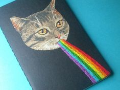 awesome rainbow kitten pocket journal