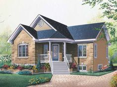 Eplans+Bungalow+House+Plan+-+Narrow+Lot+Plan+with+an+Attractive+Porch+Entrance+-+1019+Square+Feet+and+2+Bedrooms+from+Eplans+-+House+Plan+Code+HWEPL13737