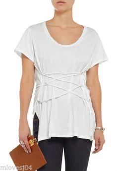 Isabel-MARANT-Bianco-Theo-Cotone-Spazzolato-T-shirt-girocollo-nuovo-BNWT-12-FR-40-RRP-200