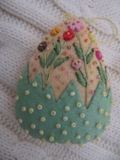 Felted, beaded, embroidered egg