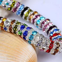 Wholesale Beads Jewelry - Buy Mix Color 8mm Crystal Wave Rondelle Spacer Balls Beads Silver Plated Beads Jewelry $0.03 | DHgate