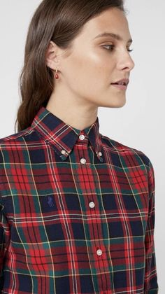 Button Down Collar, Button Up, Tartan, Plaid, Satin Shirt, Girls Wear, Dress Codes, Mantel, Oxford