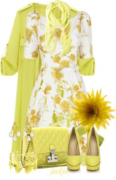 """""""Yellow Trench Coat"""" by jackie22 on Polyvore. That's a lot if yellow but it is simply stunning!"""