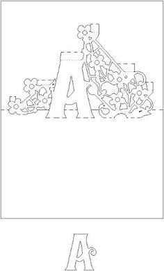 Kirigami - Libro de Letras - liru_origami - Álbumes web de Picasa Kirigami Templates, Pop Up Card Templates, Card Making Templates, Origami And Kirigami, Origami Paper, 3d Cards, Pop Up Cards, Pop Up Karten, Tarjetas Pop Up