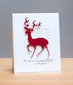 christmas card with deer red white paste and stencil #deer CASReindeer
