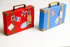 Airplane party favor boxes set of 4 Luggage by FestivaPartyDesign, $12.00