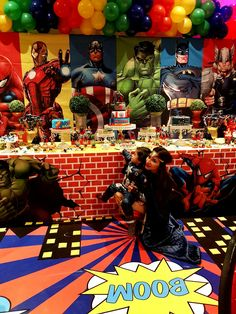 using our backdrop! Superman Birthday Party, 4th Birthday Parties, Boy Birthday, Avengers Birthday Parties, Superhero Birthday Invitations, Birthday Ideas, Superhero Party Decorations, Birthday Party Decorations, Super Hero Decorations