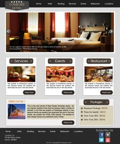 A hotel/motel business web layout which is an easy tutorial, even beginners Graphic Design Trends, Web Design Inspiration, Web Layout, Layout Design, Hotel Website Design, Design Hotel, Modern Website, Web Design Tutorials, Signage Design