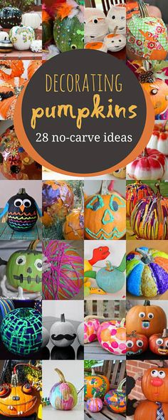 Such creative no-carve pumpkin decorating for kids to do -- love these that don't require the kids to cut! Such creative no-carve pumpkin decorating for kids to do -- love these that don't require the kids to cut! Holidays Halloween, Halloween Pumpkins, Fall Halloween, Halloween Crafts, Halloween Decorations, Halloween Ideas, Halloween 2018, Halloween Party, Pumpkin Decorations
