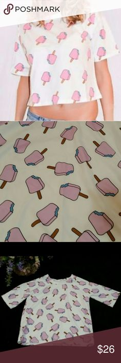 🍦 Pink Popsicle Crop Top! 🍦 Super cute pink popsicle crop top! Not a super high crop top, just a little bit as seen in pic 1. Size small. Tops Crop Tops