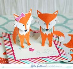 Assembled Paper Foxes by Betsy Veldman for Papertrey Ink (December 2014)
