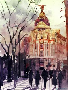 Madrid - Watercolor Architectures by Maja Wronska