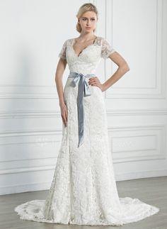 A-linjeformat V-ringning Kapell Tåg Satäng Spetsar Bröllopsklänning med Skärpband Rosett/-er (002005247) - JenJenHouse