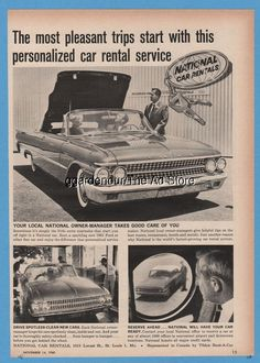 1960 Ford Sunliner Coupe Convertible GREAT B&W National Car Rental Photo Ad