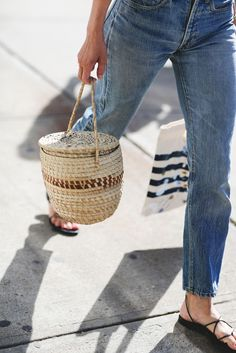 summer woven bucket bag
