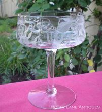 Set Of 6 Antique Crystal Champagne / Tall Sherbet Stems -  Cambridge - Marjorie Pattern -  c.1921-1934 -  The Marjorie pattern has a wonderful floral etched design featuring fuchsias on an optic ribbed bowl -  $90.00