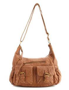 Distressed Double Pocket Bag: Charlotte Russe