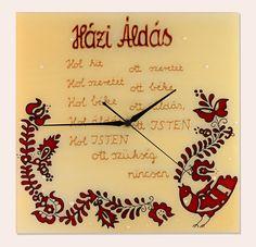 Kézzel festett üvegóra - Házi áldás Clock, Magic, Paintings, Glass, Wall, Home Decor, House Blessing, Watch, Decoration Home