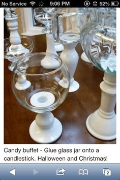 DIY Candy Buffet - candlesticks and glass bowls / jars - this is a project for . DIY Candy Buffet - candlesticks and glass bowls / jars - this is a project for flea market lovers . Dollar Store Crafts, Dollar Stores, Thrift Stores, Dollar Dollar, Dollar Store Hacks, Diy Projects To Try, Craft Projects, Science Projects, Chandeliers